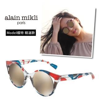 【alain mikli 法式巴黎】捌零復古藝術纏繞圓弧造型太陽眼鏡// model精選款(紅藍 AL5033-003)