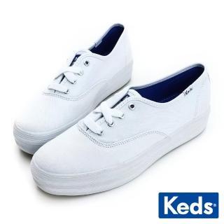 【Keds】品牌經典厚底綁帶休閒鞋(白色)