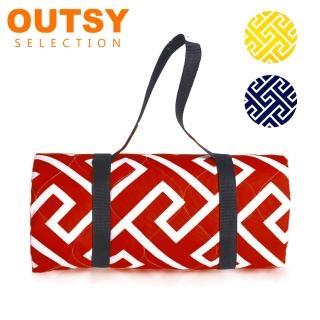 【OUTSY】獨家加厚防水鋪棉野餐墊/沙灘墊 大-135cmx175cm(防水升級 台灣設計製造)
