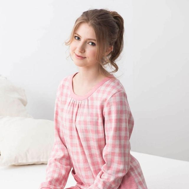 【La Felino 羅絲美】愜意生活長袖褲裝睡衣(格紋粉)