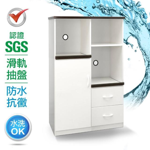 【IHouse】SGS 防潮抗蟲蛀緩衝塑鋼一門二抽二拖置物電器櫃