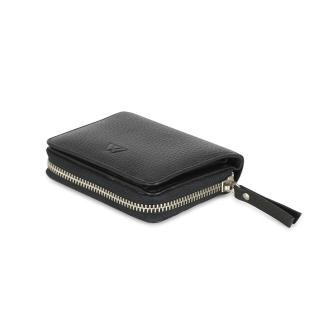 【MARKBERG】Delta 丹麥手工牛皮簡約側翻雙層短夾 錢包(極簡黑)