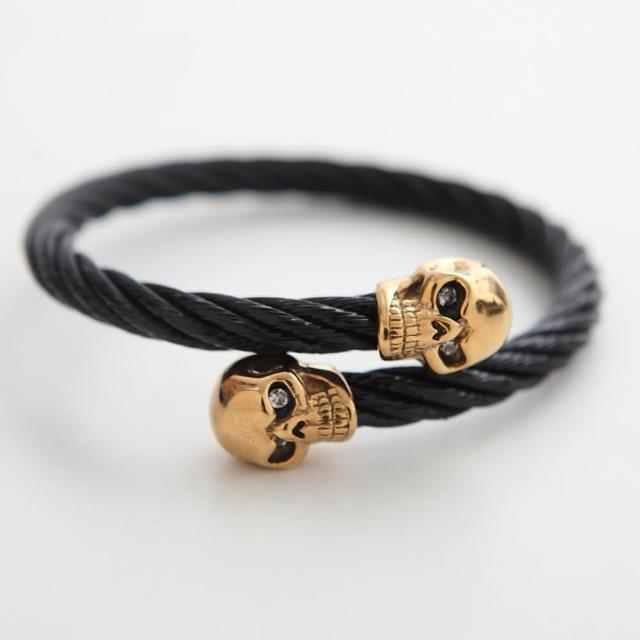 【玖飾時尚】立體金色骷鏤黑鋼索手環(手環)