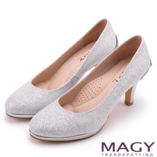 【MAGY】夢幻新娘鞋款 特殊造型五金鑽飾高跟鞋(銀色)