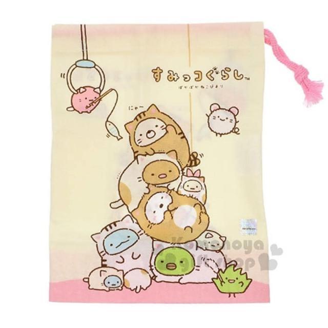 〔小禮堂〕角落生物 日製棉質束口袋《米.貓裝.疊疊樂.抓娃娃機》牙刷杯用