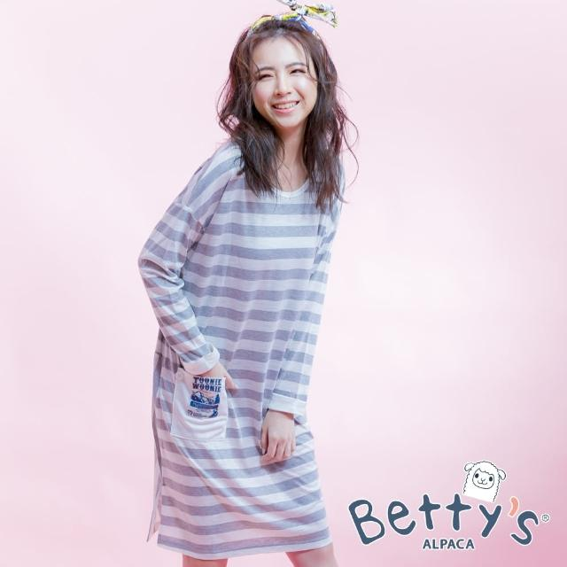 【betty's 貝蒂思】條紋口袋造型寬版棉質長袖洋裝(淺灰)