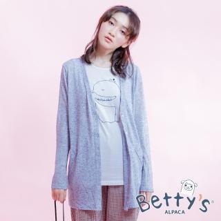 【betty's 貝蒂思】棉質背心+針織罩衫長版上衣(淺藍)