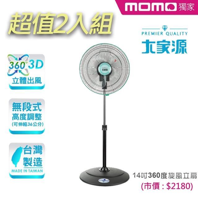 獨家2入組-【大家源】14吋360度旋風立扇/電風扇(TCY-8106)