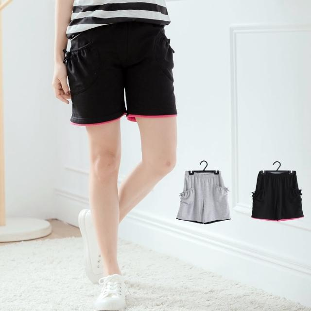 【衣心衣意】舒適好穿素面腰圍綁帶口袋短褲(黑色-灰色B8042)