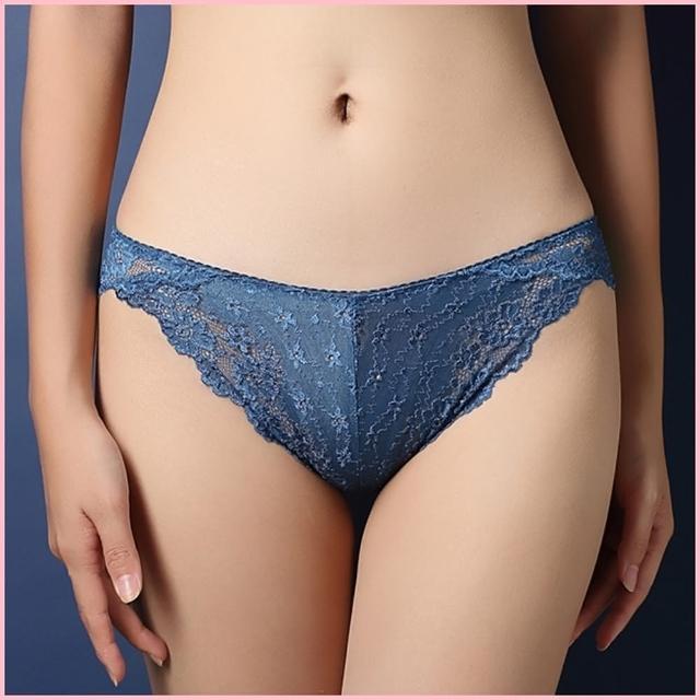 【BoBo少女系】法式奢華水溶蕾絲刺繡性感低腰三角內褲-N3004-7(孔雀藍)