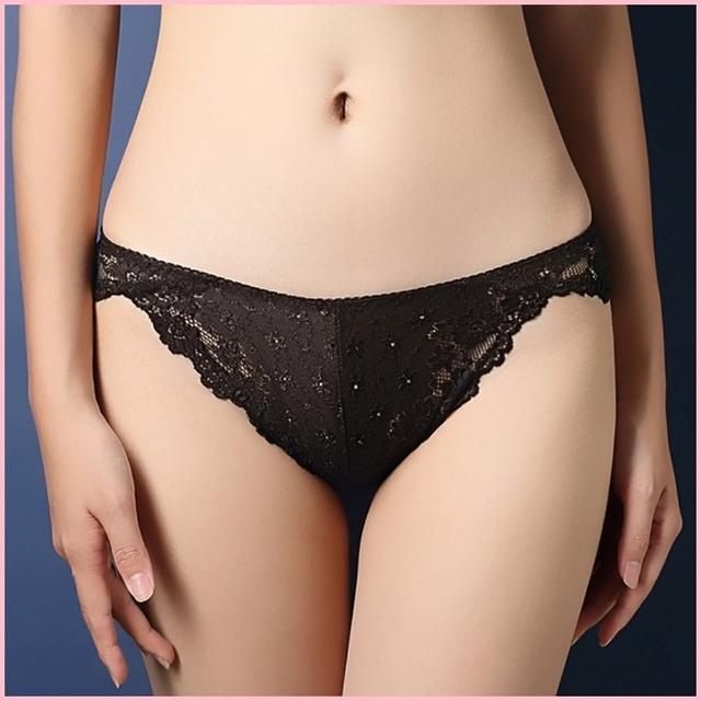 【BoBo少女系】法式奢華水溶蕾絲刺繡性感低腰三角內褲-N3004-7(挑逗黑)