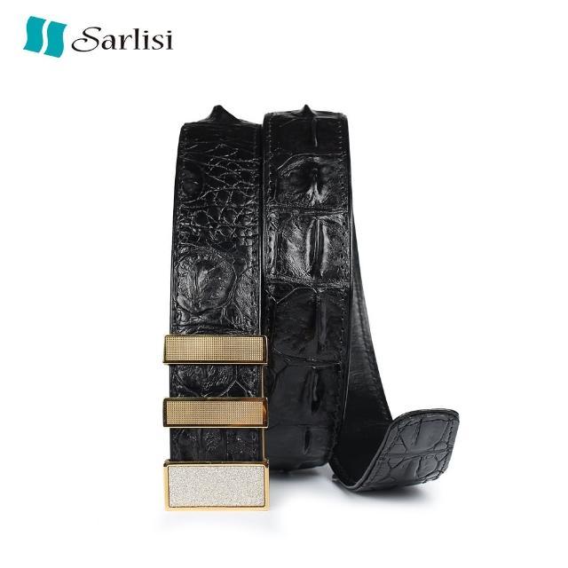 【Sarlisi】真皮鱷魚皮腰帶男士皮帶(黑色咖啡色)