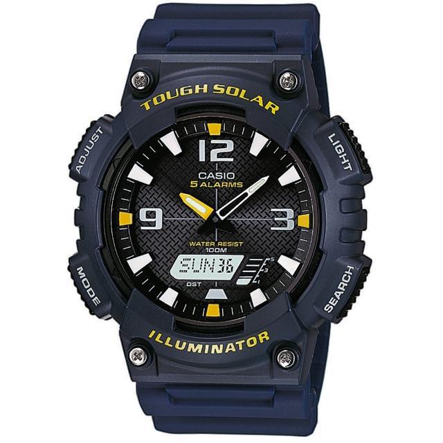【CASIO 卡西歐】頂級戶外太陽能電力運動雙顯錶-深藍(AQ-S810W-2A)