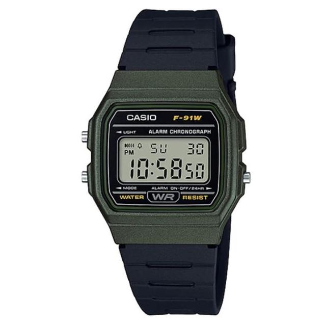 【CASIO 卡西歐】方形復古運動電子錶-綠框(F-91WM-3A)