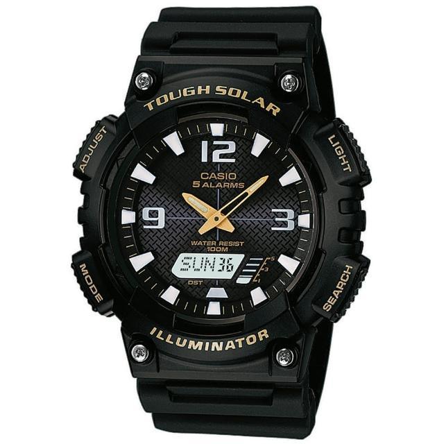 【CASIO 卡西歐】頂級戶外太陽能電力運動雙顯錶-黑(AQ-S810W-1B)