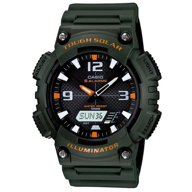 【CASIO 卡西歐】頂級戶外太陽能電力運動雙顯錶-墨綠(AQ-S810W-3A)