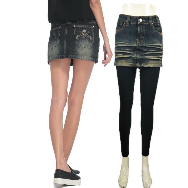 【RH】日系牛仔窄裙加內搭褲(甲配牛仔窄裙S-M-L-XL加薄刷毛內搭褲)