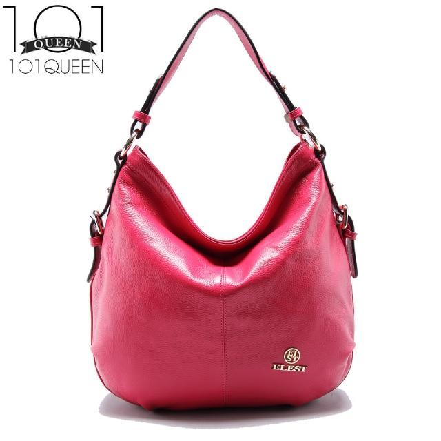 【101 Queen】真皮歐美簡約彎月時尚肩側牛皮包(共3色)