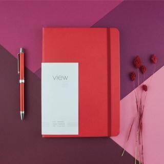 【綠的事務用品】眼色View-25K精裝橫線筆記本-紅