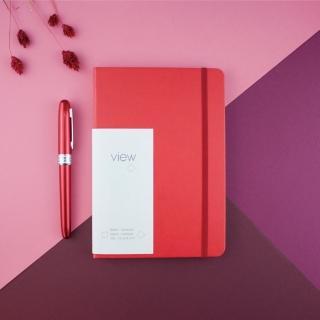 【綠的事務用品】眼色View-32K精裝空白筆記本-紅
