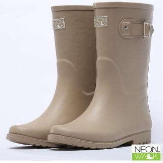 【Neon Walk】經典中筒橡膠靴-杏色(雨鞋 雨靴 長筒雨靴 中筒靴 高筒靴 neonwalk NEON WALK)