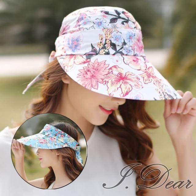 【I.Dear】韓國夏日甜美彩花卉可拆卸帽頂遮陽空頂帽(4色)