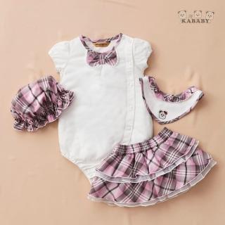 【金安德森】春夏彌月禮盒-俏麗格子裙套裝(米色/粉格)