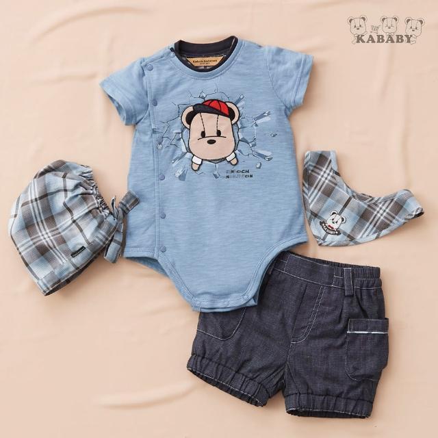 【金安德森】春夏彌月禮盒-帽子熊兔裝+牛仔短褲(水藍色)