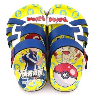 【童鞋城堡】神奇寶貝-寶可夢 中童 不對稱軟木風格拖鞋(PA1708-藍)