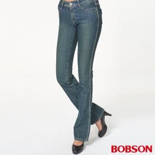【BOBSON】女款彈性小喇叭褲(藍9055-77)