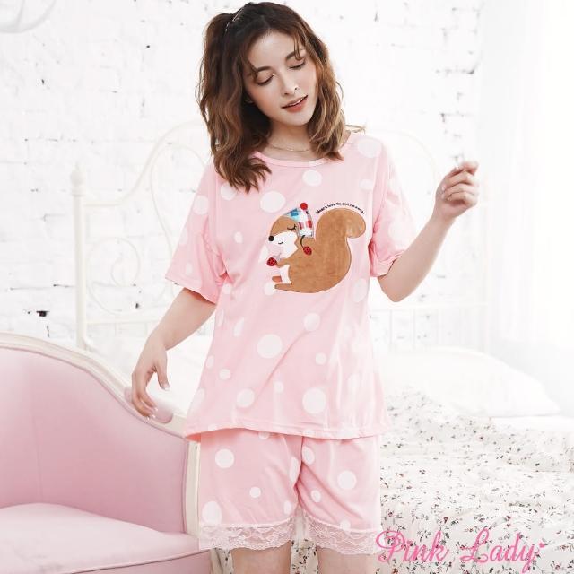 【PINK LADY】草莓松鼠 夢幻泡泡短袖睡衣133(桔)