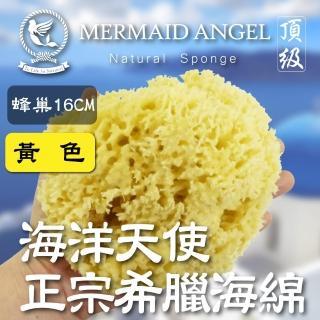 【海洋天使】Mermaid Angel頂級希臘天然海綿(蜂巢16CM黃色)