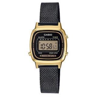 【CASIO 卡西歐】復古米蘭錶帶優雅電子錶-黑X金(LA-670WEMB-1)