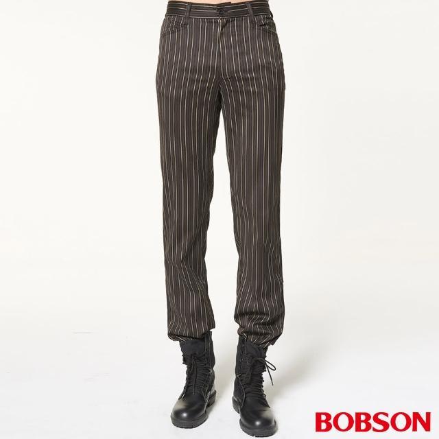 【BOBSON】男款伸縮條狀煙管褲(1607-73)