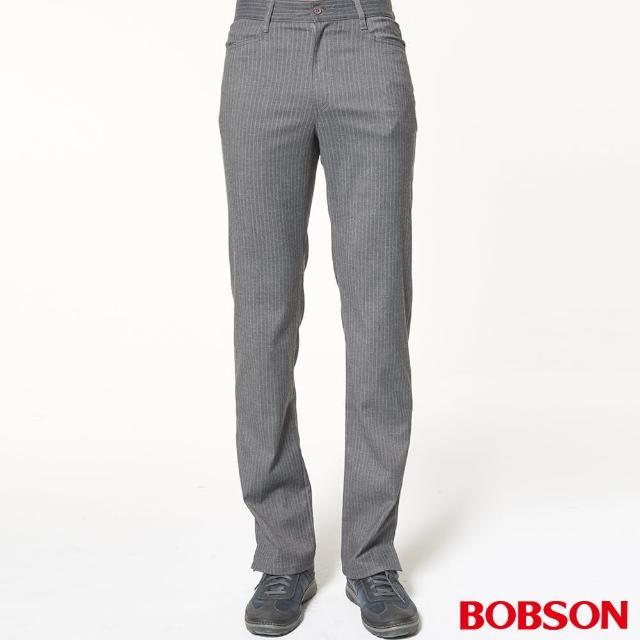 【BOBSON】男款伸縮條狀煙管褲(灰1607-87)