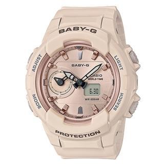 【CASIO 卡西歐】BABY-G 大地系氣質女孩運動雙顯錶-膚粉X玫瑰金(BGA-230SA-4A)