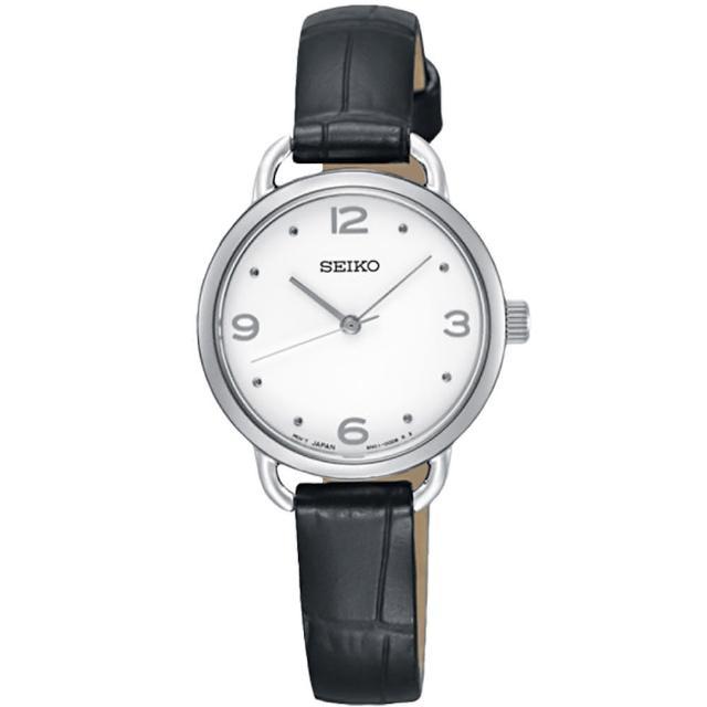 【SEIKO 精工】氣質石英指針女錶 皮革 防水50米(SUR669P2)