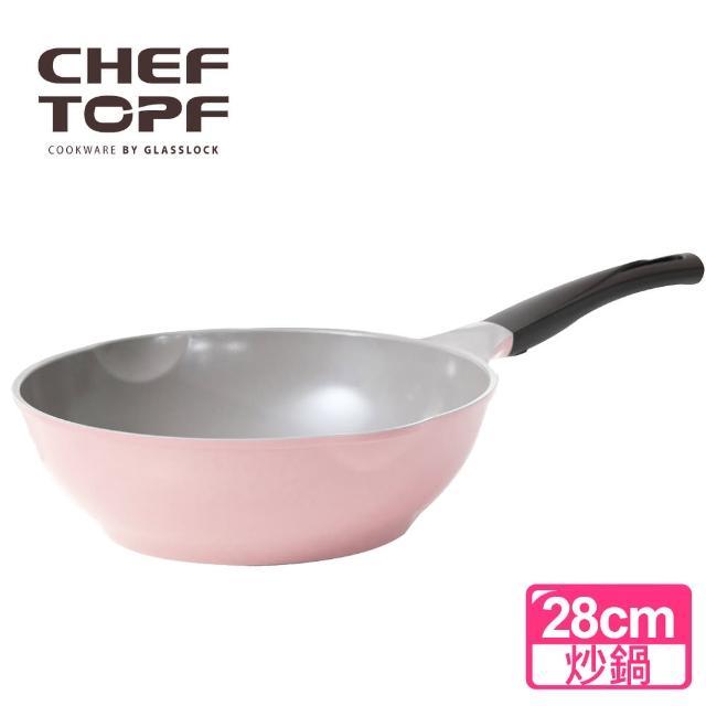 【Chef Topf】韓國 La Rose玫瑰薔薇系列28公分不沾炒鍋-粉紅色
