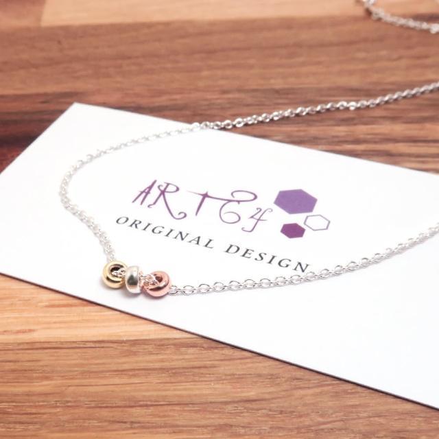 【ART64】三色銀珠項鍊(925純銀項鍊 珠珠項鍊)