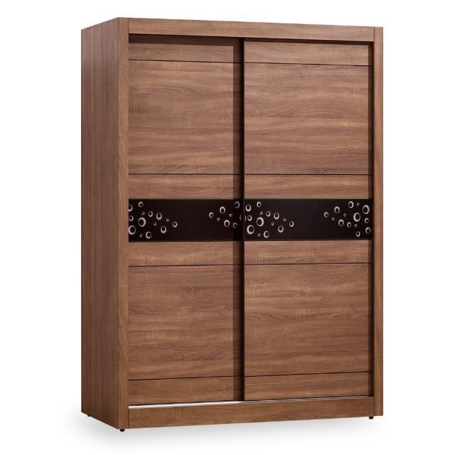【時尚屋】布倫特淺胡桃5尺推門衣櫥 G18-013-4(免運費 免組裝 臥室系列 衣櫥)
