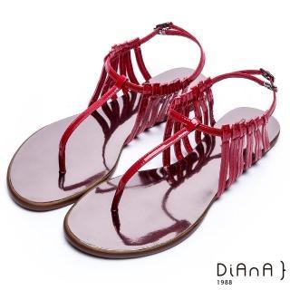 【DIANA】摩登時尚--層次細帶線條T字夾腳涼鞋(紅)