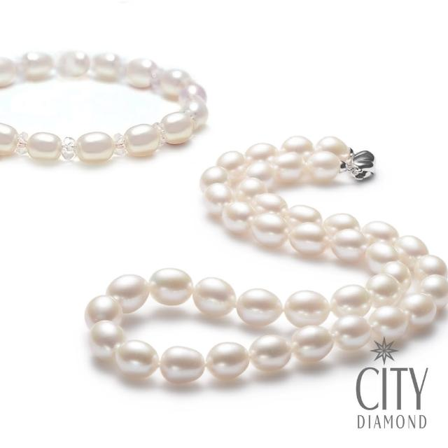 【City Diamond 引雅】買天然珍珠項鍊贈天然珍珠手鍊-白(母親節禮物推薦)