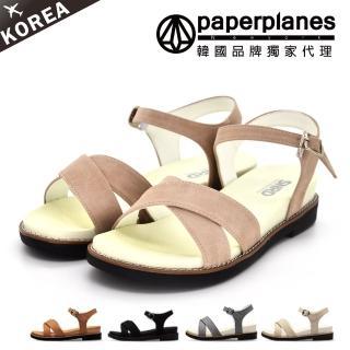 【Paperplanes】正韓製/正常版型。柔和色彩交叉寬帶Q彈厚底金屬扣帶涼鞋(7-250/現貨+預購)
