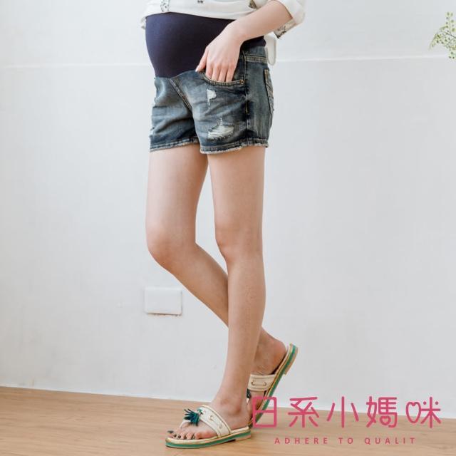 【AILIAN 日系小媽咪】刷破感水洗牛仔短褲 可調式瑜珈腰圍 M-XXXL(孕婦褲)
