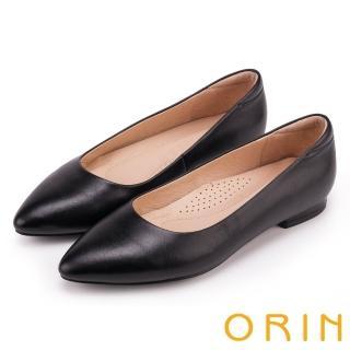 【ORIN】簡約時尚OL 尖頭素面質感牛皮低跟鞋(黑色)