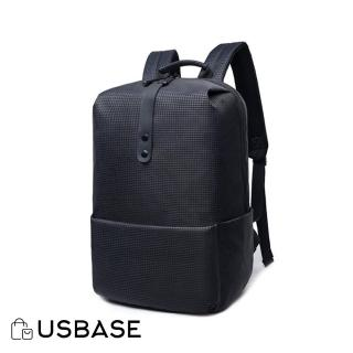 【USBASE】15吋 時尚千鳥紋大容量雙肩筆電後背包(黑色)