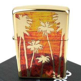 【Zippo】美系~Palm Tree Sunset-日落棕櫚樹圖案設計打火機