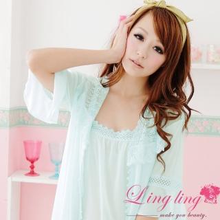 【lingling】A666全尺碼-鏤刻浪漫柔美蕾絲背心裙+睡袍(清新藍綠)