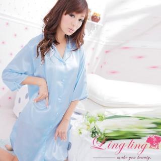【lingling】E207全尺碼-誘惑心機襯衫式絲緞連身睡衣(純潔天藍)