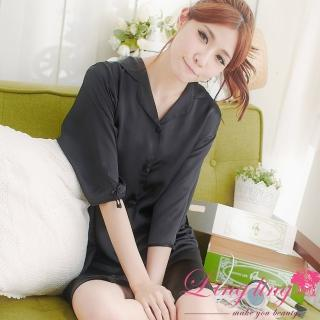 【lingling】A147全尺碼-誘惑心機襯衫式絲緞連身睡衣(迷戀黑)